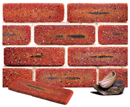 Super Red Color Cobble Sliced Brick Veneer with Shade